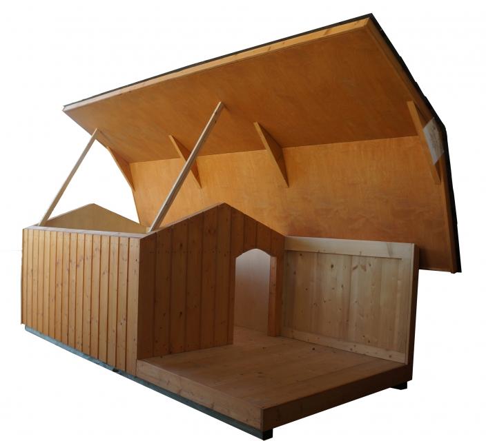 Hundehaus 4S Lux mit Veranda ohne Dachpappeziegel ohne Gaszylinder